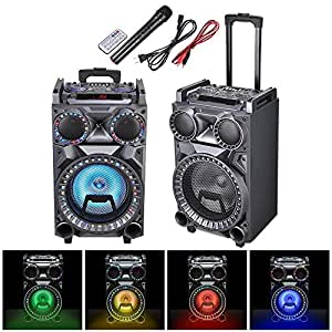"AW 10"" Portable Trolley Speaker Bluetooth LED Light with Wireless Microphone Remote Control FM SD USB Port"