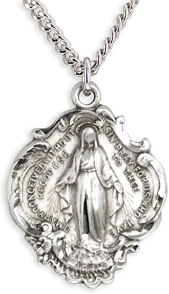 Chain Choice Heartland Mens Sterling Silver Round Holy Family Necklace USA Made