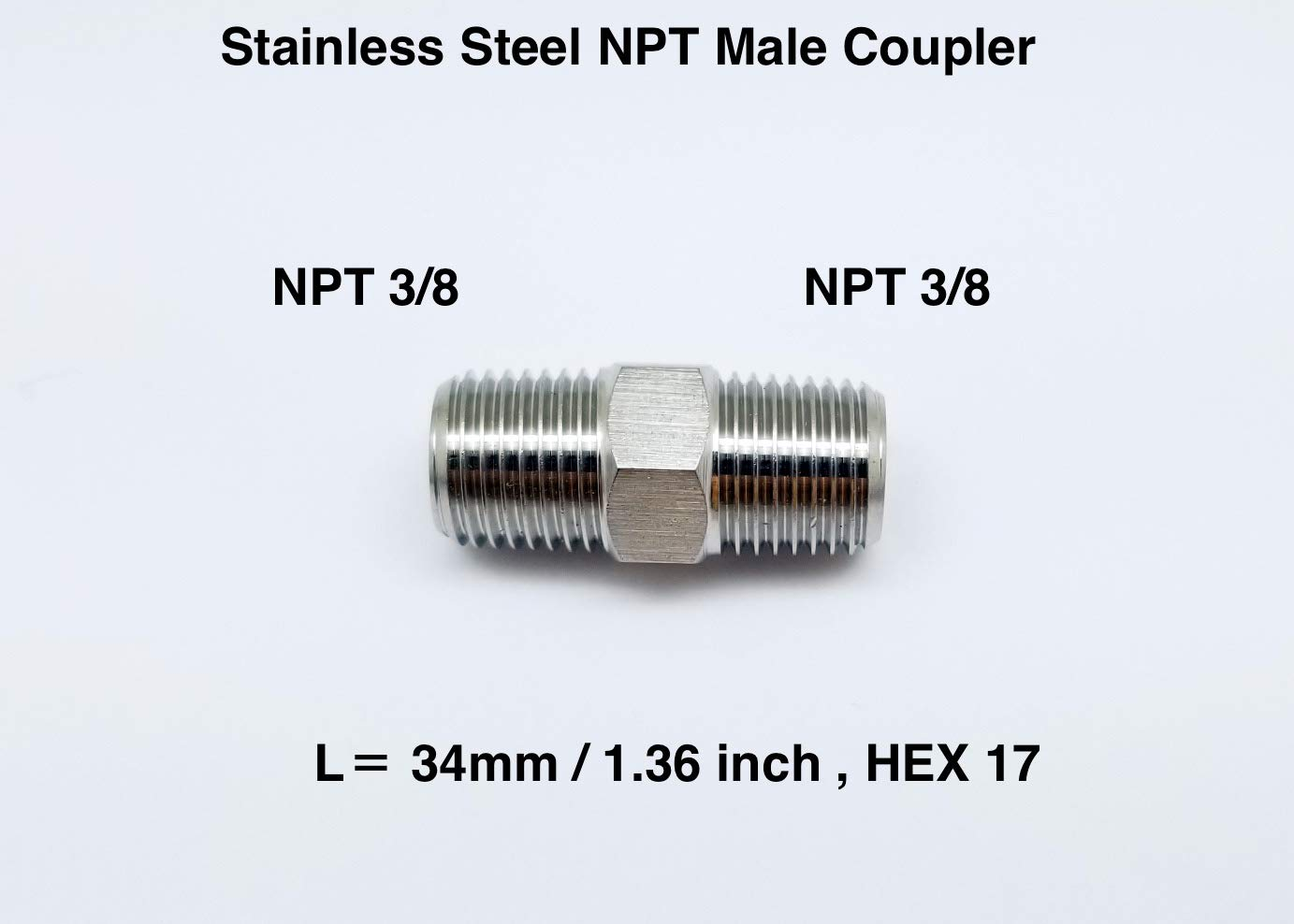 Autobahn88 Stainless Straight Coupler Fitting, 3/8 NPT Male to 3/8 NPT Male