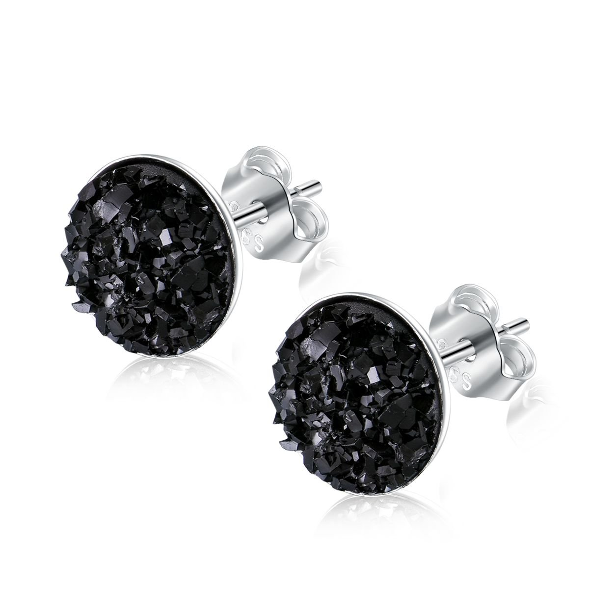 EVERU Sterling Silver Round Druzy Stud Earrings, 4 Colors Options, 8mm (Black)