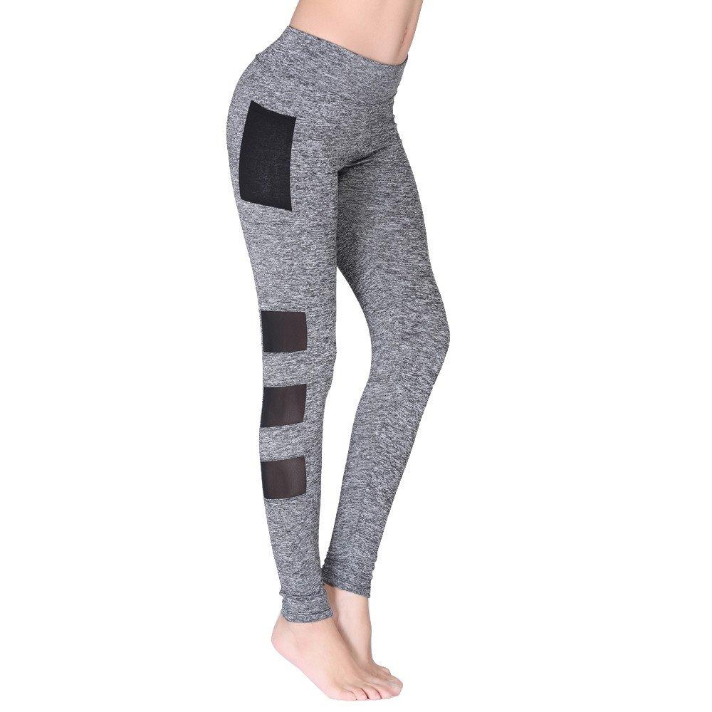 Leggings for Women Pants, Womens Yoga Pants Workout Running Leggings Fitness Yoga Athletic Pants Cropped Trouser Grey