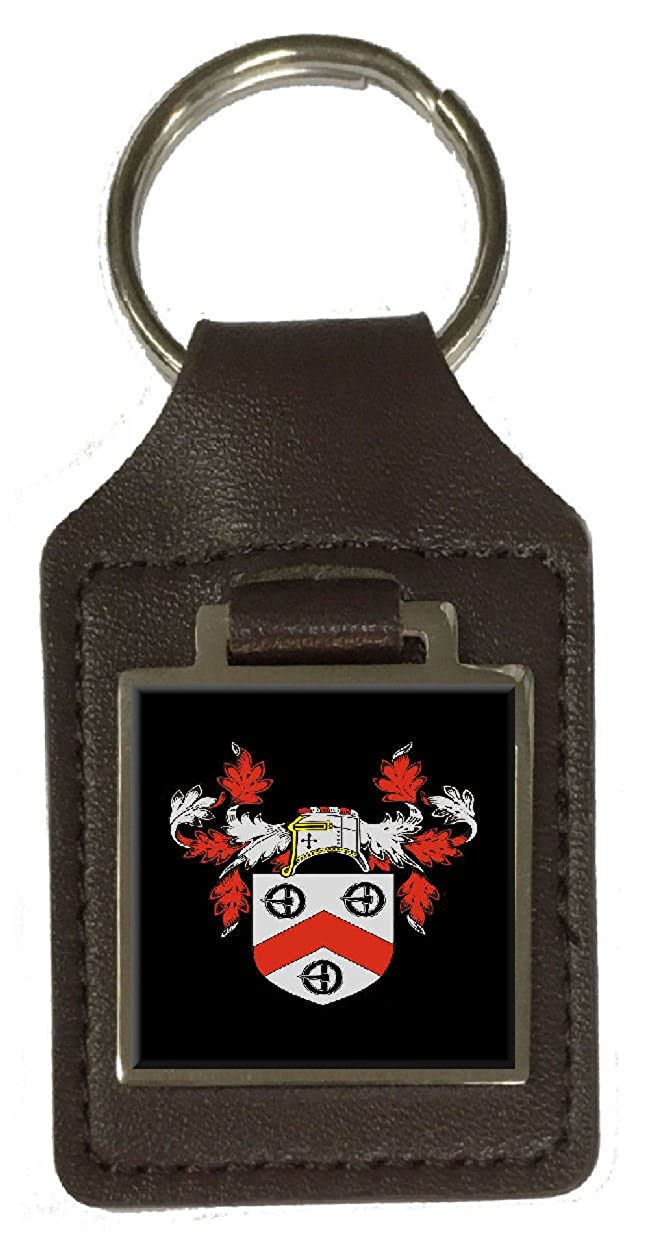 Morton Heraldry Surname Coat Of Arms Brown Leather Keyring Engraved