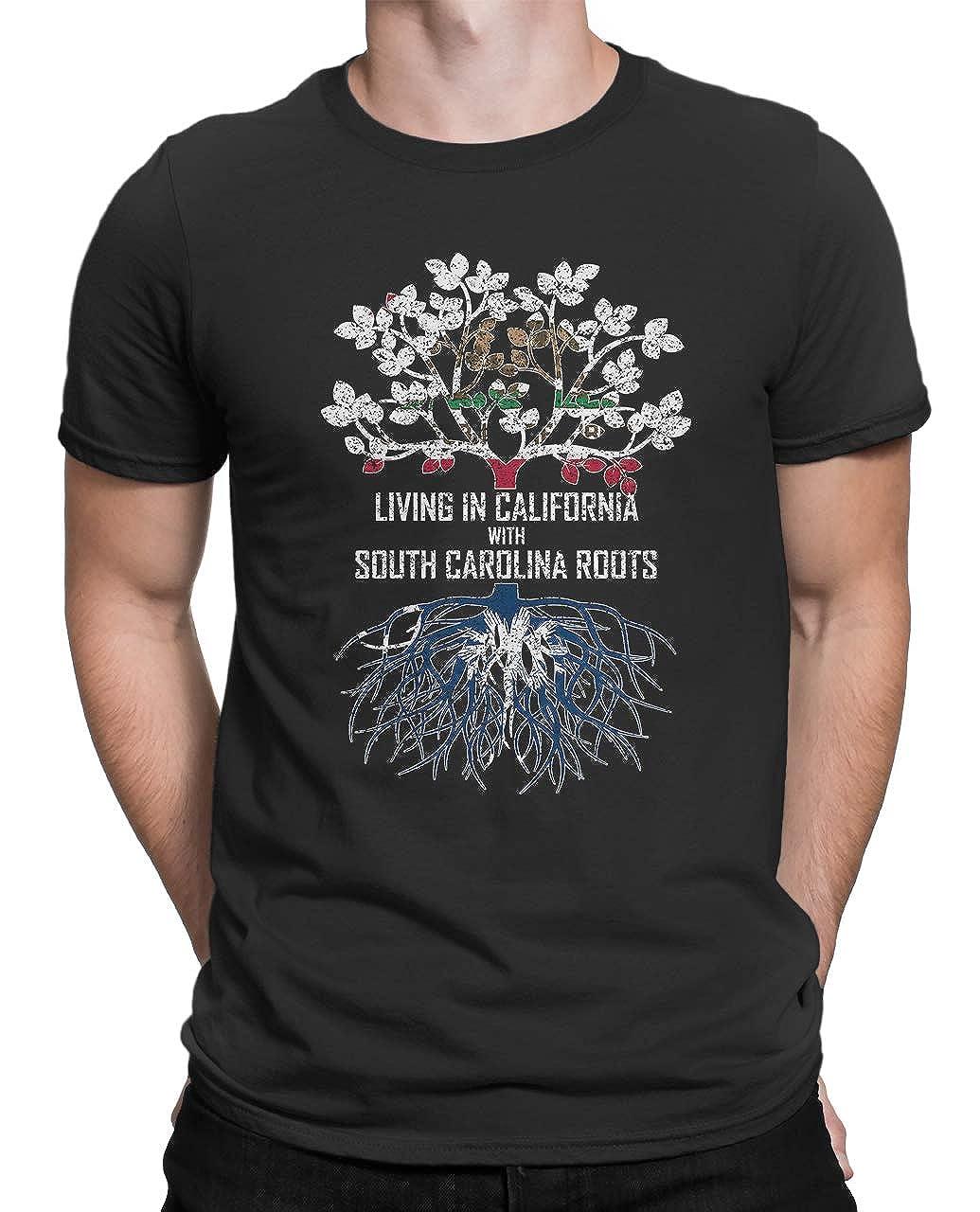 Tenacitee Mens Living in California South Carolina Roots T-Shirt