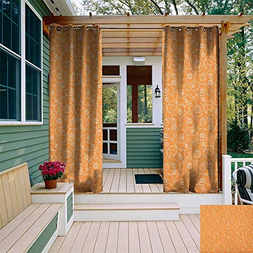 leinuoyi Harvest, Outdoor Curtain Panels Set of 2, Pattern with Pumpkin Leaves and Swirls on Orange Backdrop Halloween Inspired, for Gazebo W96 x L96 Inch Orange White -