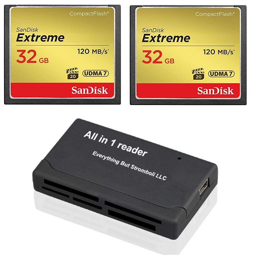 SanDisk Extreme 32GB CompactFlash CF Memory Card (2 Pack Bundle) Works with Canon EOS 7D Mark II Digital DSLR Cameras HD UDMA 7 (SDCFXSB-032G-G46) with Everything But Stromboli (TM) Combo Reader