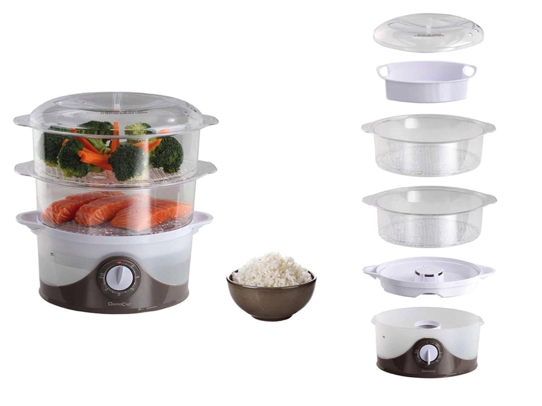 Vaporiera a 2piani con cuoci riso di verdure silenziatore Timer (caldaia a vapore, 2Inserti, 6litri, 800Watt, trasparente) DomoClip