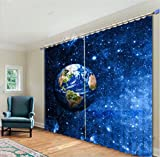 Cheap LB Outer Space Decor Room Darkening Blackout Window Curtains,Sparkling Planet in the Galaxy System Window Treatment Living Room Bedroom 3D Window Drapes 2 Panels Set,28 inch Width by 65 inch Length