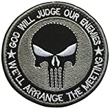 (US) SpaceAuto 3D Embroidered God Will Judge Our Enemies We'll Arrange the Meetings Punisher Military Tactical Morale Hook & Loop Patch 3.15
