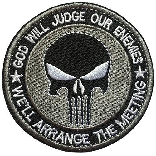 Embroidered 3 D Stickers - SpaceCar 3D Embroidered God Will Judge Our Enemies We'll Arrange The Meetings Punisher Military Tactical Morale Hook & Loop Patch 3.15