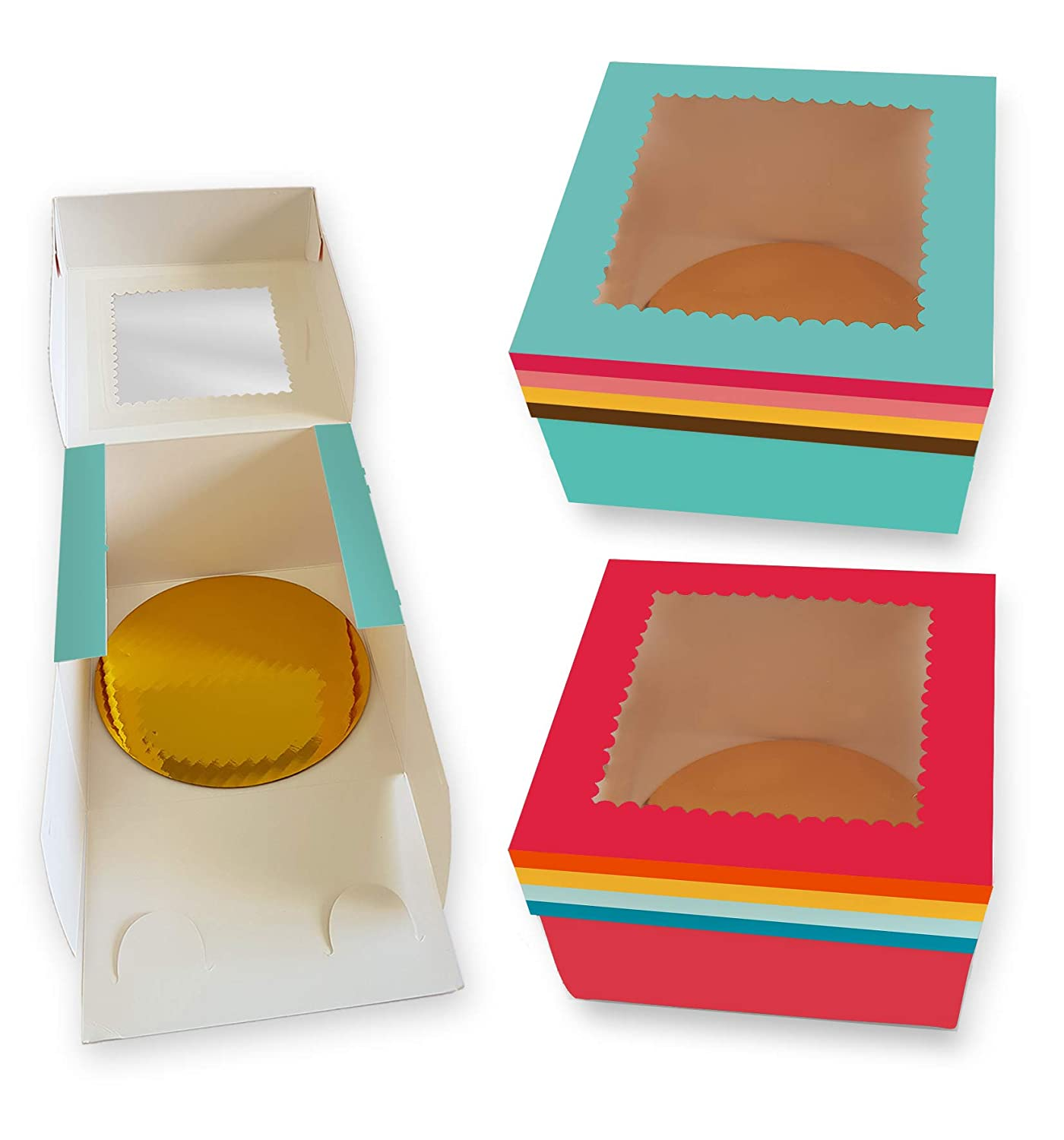 CooKeezz Couture - Cake Boxes 8x8x5 Inch,Rainbow Design Decorated Bakery Box Auto Popup for Cake, Cupcake, Muffins, Macaroons and Cookies - 12 Pack Boxes Included with 12 Cake Round Boards.