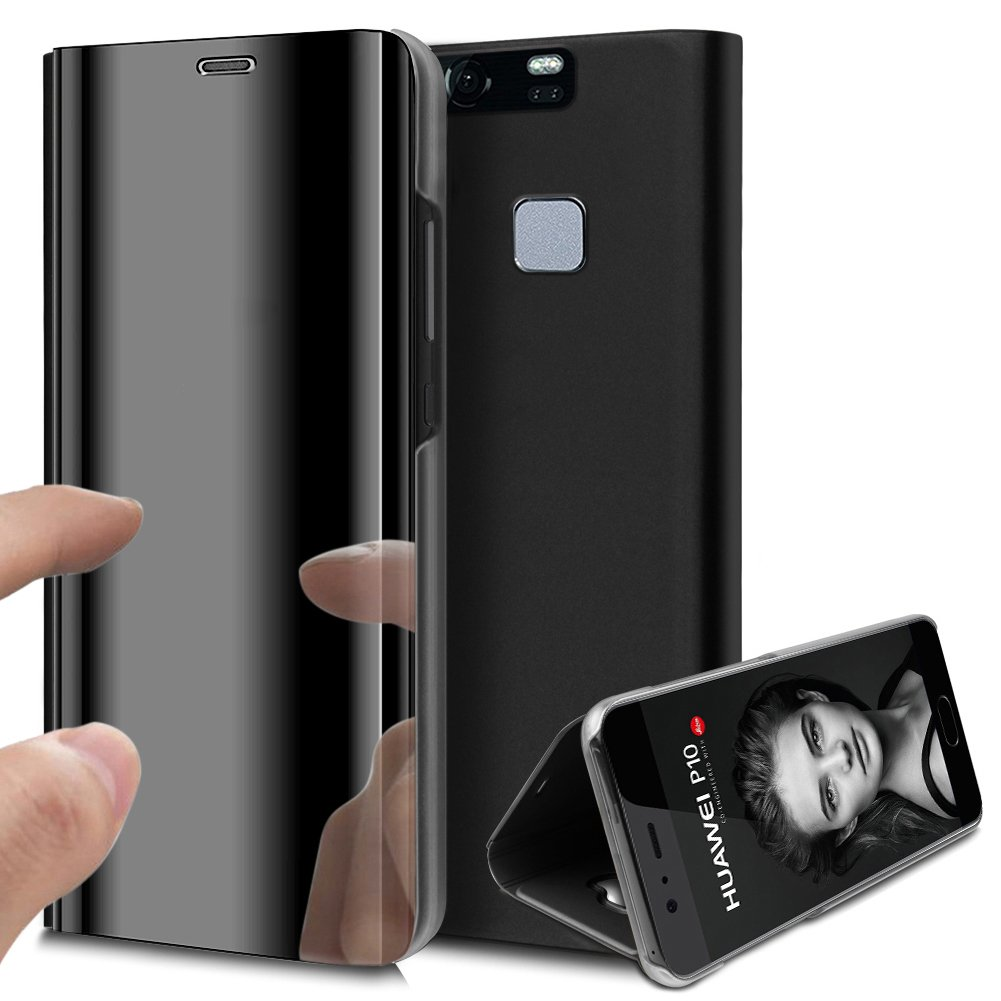 Huawei P9 Case,Huawei P9 Cover,ikasus Ultra-Slim Luxury Hybrid Shock-Absorption Electroplate Plating Mirror Makeup Case Cover PU Leather Flip Stand Kickstand Protective Case Cover for Huawei P9,Black