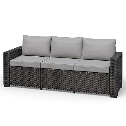 Allibert California 3 Sitzer Couch Polyrattan Gartenmobel Lounge Rattanoptik