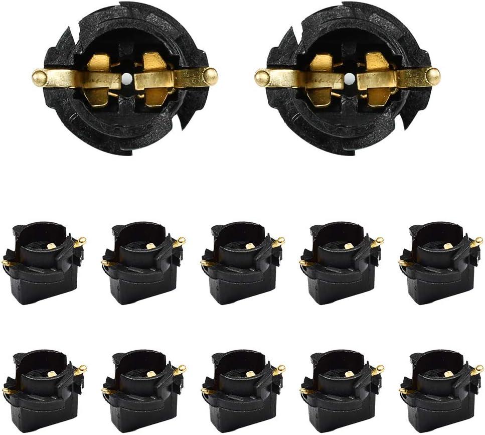 HUIQIAODS T10 168 194 Twist Lock Wedge Instrument Panel Dash Light Bulbs Base Socket for Type Miniature Wedge Base Bulbs10 Pack (t10 base socket-10pack)