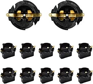 HUIQIAODS T10 168 194 Twist Lock Wedge Instrument Panel Dash Light Bulbs Base Socket for Type Miniature Wedge Base Bulbs10 Pack (t10 base socket-10pack)