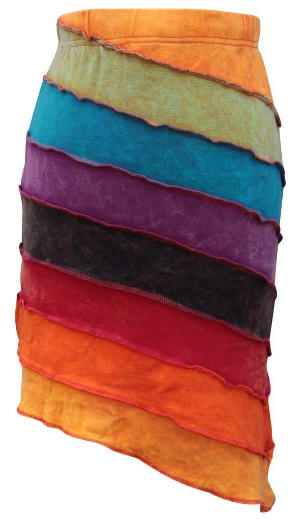 Shopoholic Fashion Women Summer Rainbow Hippie Skirt (L,Rainbow)