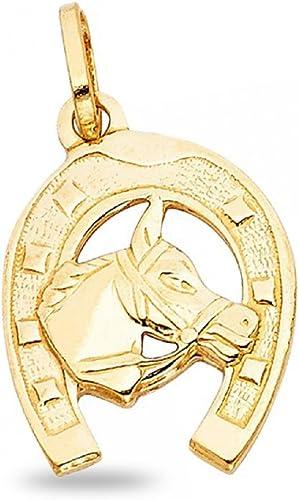 14k Yellow Gold Horse Head Pendant