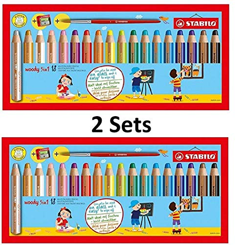 (STABILO Woody 3-in-1 Multi-Talented Pencil with Sharpener and Paint Brush - Assorted Colours, Wallet of 18, 2 Wallets total 36 count)