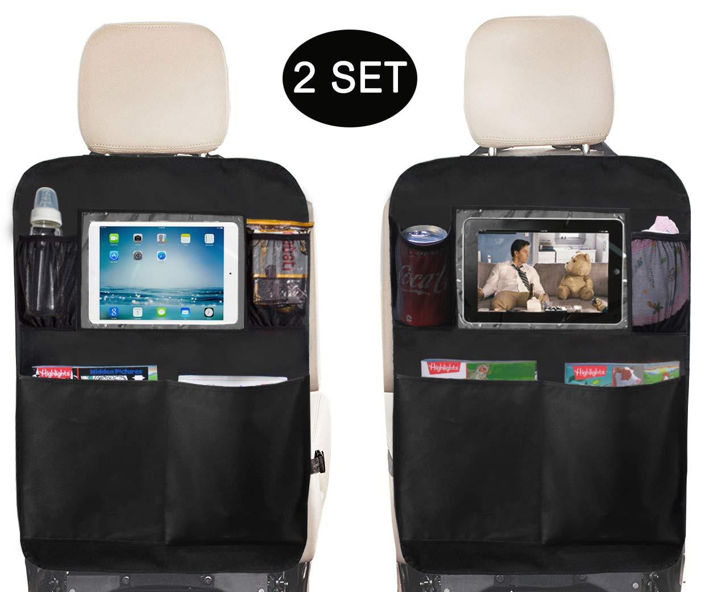 SLEEPING LAMB Kick Mat Seat Back Protectors with PVC Pockets Seat Covers for Car Backseat, 2 Pack (2-Black) by SLEEPING LAMB