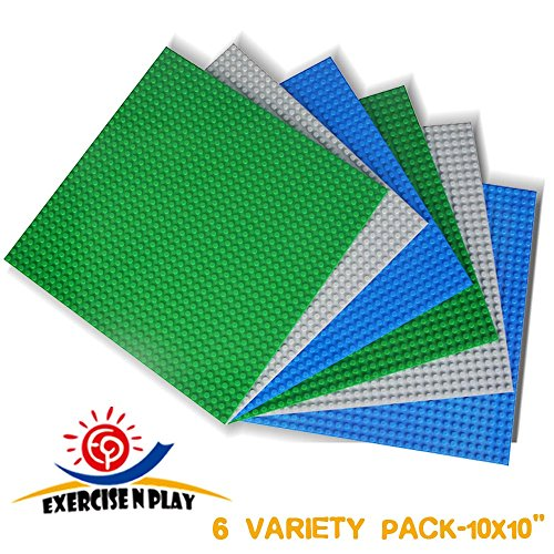 Lego Compatible Brick Baseplates 6 Pack Applied To Activity Table and all Major Legos Building Blocks Toys for Kids