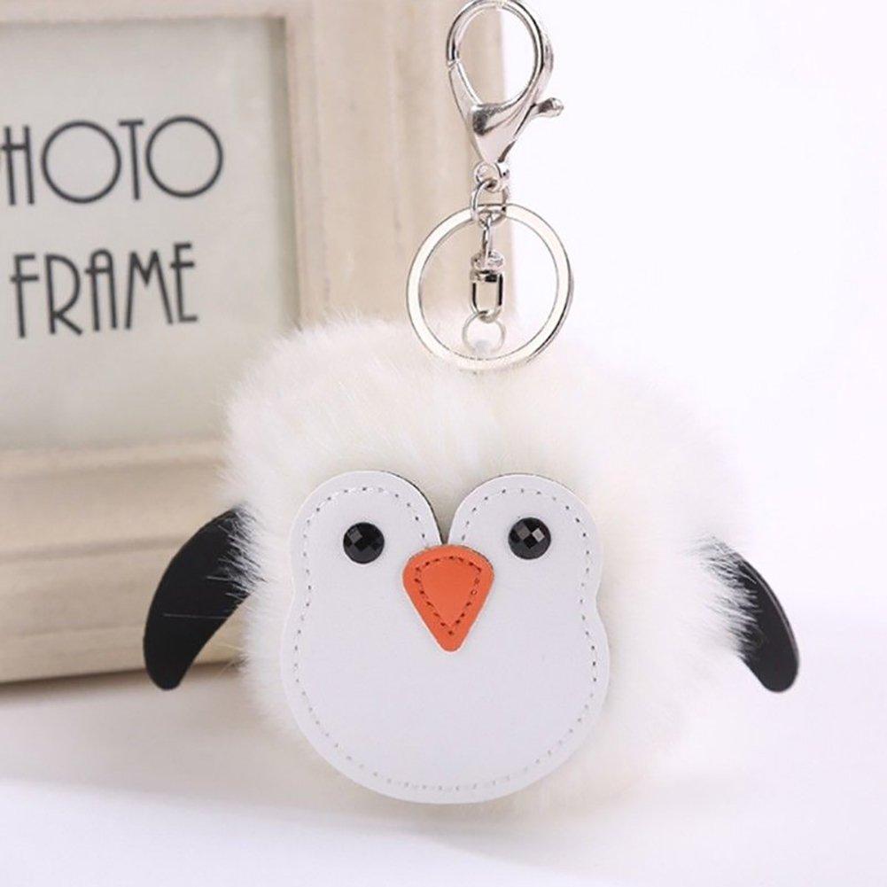 Brave669 Cute Fluffy Penguin Handbag Charm Pendant Car Keychain Key Ring White