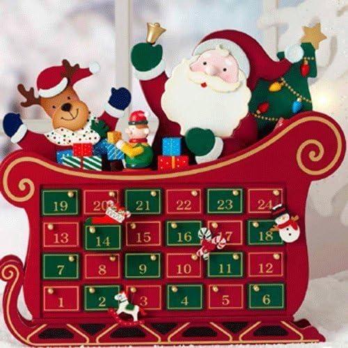 De madera de Papá Noel y trineo Calendario de Adviento con 24 ...