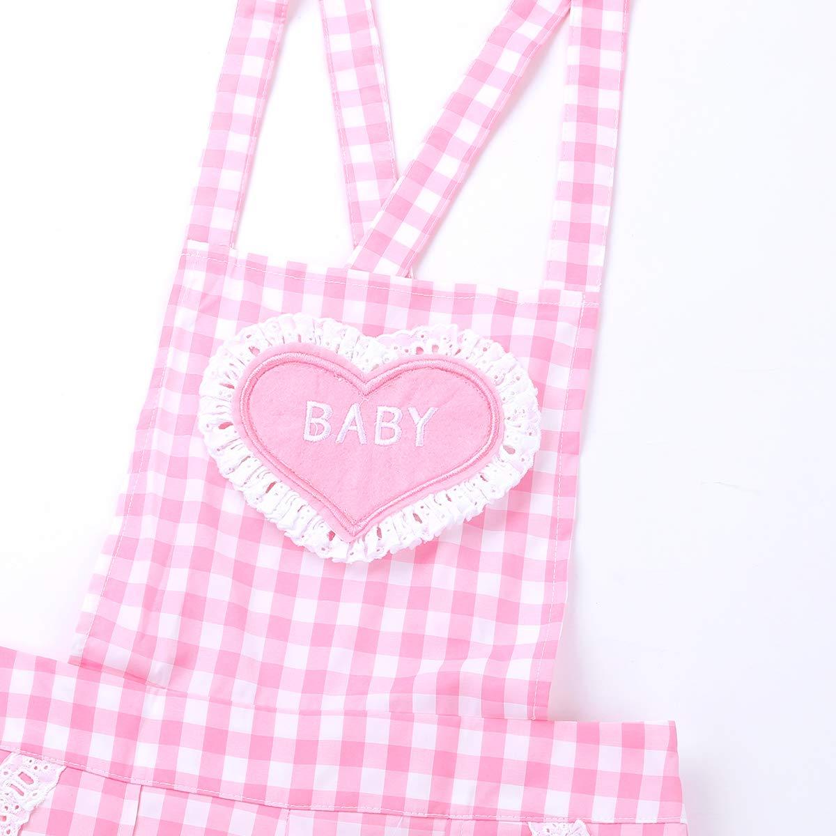 S-XL CHICTRY M/ädchen Damen Latzhose Tr/äger Hose Overalls Latzshorts Kariertes Jumpsuit mit Baby Stickerei Rosa Gr
