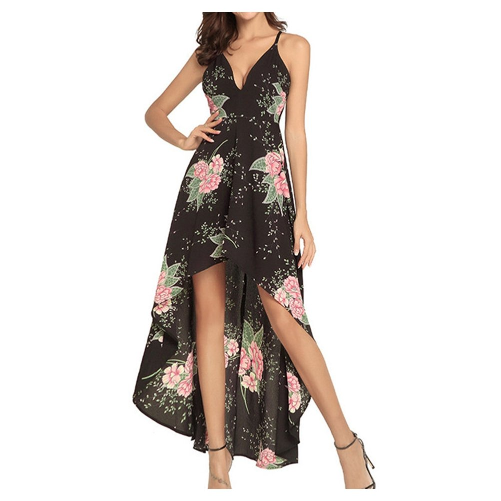 D Women Floral Print Flowy Party Maxi Dress Loose Long Evening Formal Dresses