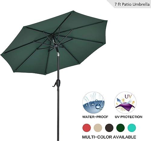 AMTALL Patio 7ft Patio Umbrella Outdoor Market Table Umbrella with Push Button Tilt and Crank for Garden, Lawn, Deck, Backyard Pool, Dark Green