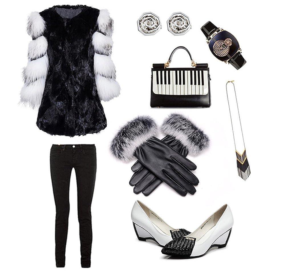 APAS Womens Winter Fluffy Rabbit Hair Cuff PU Leather Fleece Lining Thermal Touch Screen Gloves CA10-0012-06BK