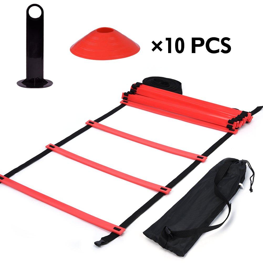 Kit di Scaletta di Addestramento di Agilità di Velocità, 19ft Ladder Piatto + 10 Coni di Allenamento con Maniglia di Trasporto ( Colore : Blu ) VGEBY