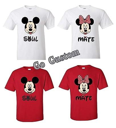 44a2146b9f Amazon.com: Soul Mate Mickey and Minnie Funny Matching Couple Shirts ...