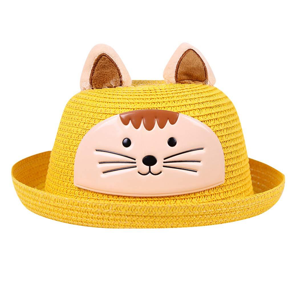 Unisex Toddler Children Kids 3D Animals Embroidery Straw Caps Casual Cartoon Ears Sunhats Cute Roll Up Brim Sunhats (H)