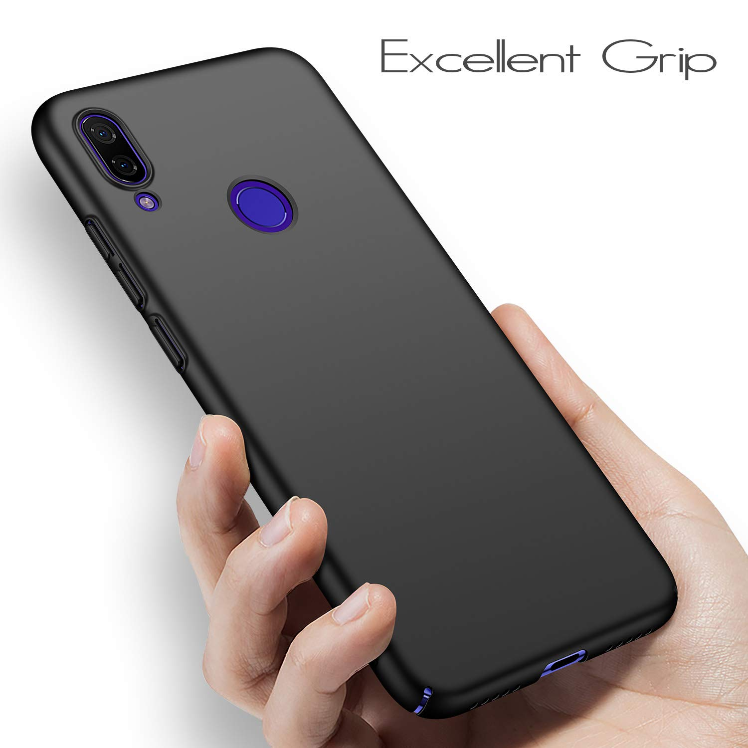 anccer Colorful Series for Xiaomi Redmi Note 7 Pro Case Ultra Thin Fit Premium PC Material Slim Cover for Xiaomi Redmi Note 7 Pro - Black