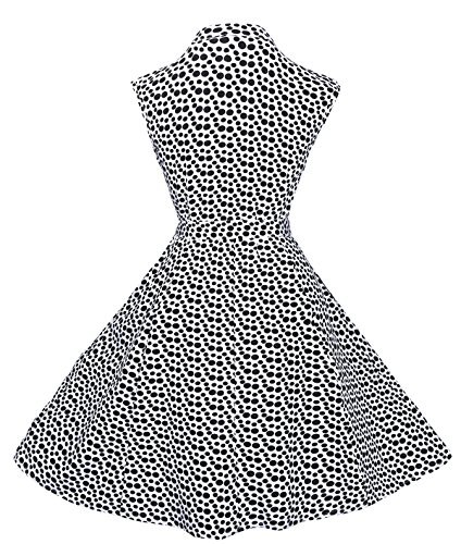Black Waist Women's Dot Shirt Button TENCON with Vintage Pockets Tie White Sleeveless Polka BI Dress Summer and awqI65an