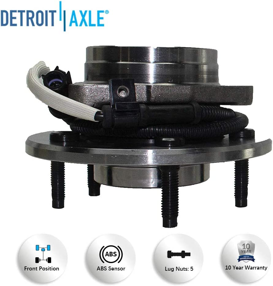 4x4 w//12MM LUGS Brand New Both Front Wheel Hub and Bearing Assembly 1997-00 Ford F-150 4x4 5 Lug w//ABS 12mm Wheel Lugs