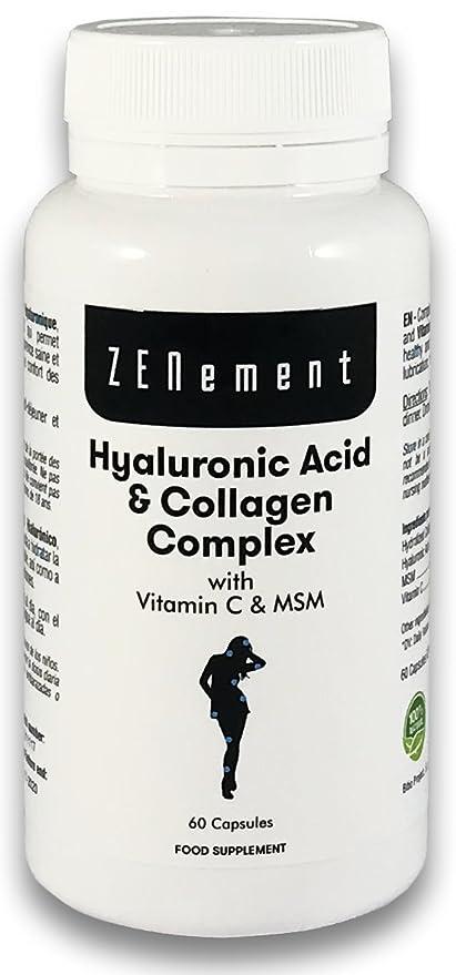Ácido Hialurónico y Colágeno Complex con MSM y Vitamina C, 60 cápsulas, para combatir