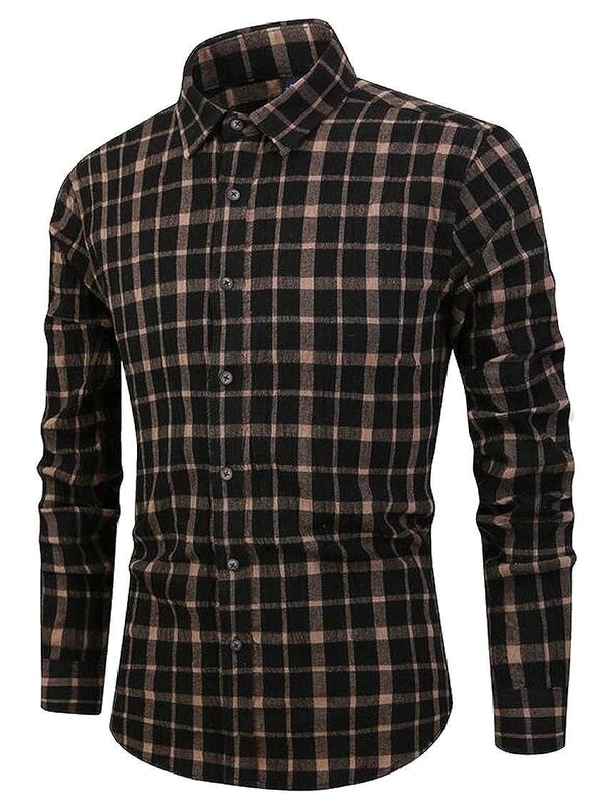 XTX Mens Flannel Retro Plaid Curved Hem Washed Button Down Shirts
