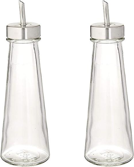 Amazon Com 2 Piece Glass Cruet Set For Oil And Vinegar Kitchen Dining