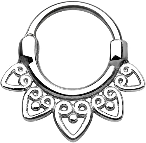 Forbidden Body Jewelry 14G-16G Surgical Steel Tribal Fan Cartilage and Septum Hoop with Click Closure
