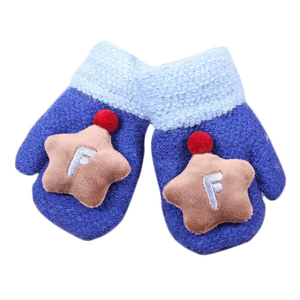 Hikfly Cute Tejer Mitones Guantes Manoplas Para bebé Chicas Chicos Niños pequeños Guantes térmicos para deportes al aire libre Guantes más cálidos Regalo de Navidad (1-3 años) Azul)