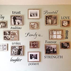 FlyWallD Picture Wall Ides Sets of 12 Decal Quote Family Quotes Sticker Traveler Vinyl Art Lettering Saying Photo Decor