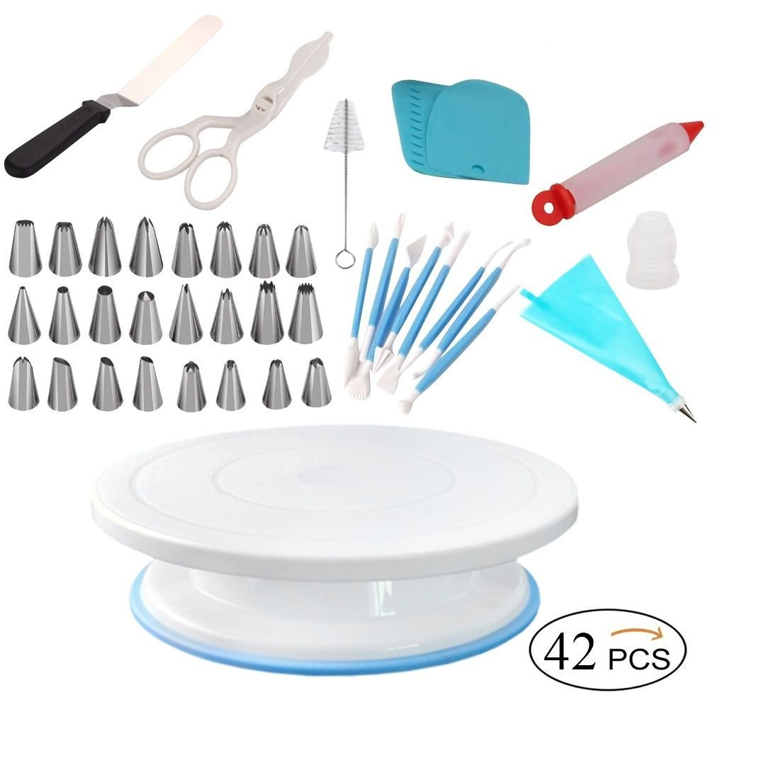 ShoppeWatch Cake Spinner Turntable Rotating Stand Baking Decoration Supplies and Decorating Kit - Spatula-Smoother-Scraper-Comb-Flower Lifter-Pen-Icing Tips-Coupler-Brush-Reusable Silicone Pastry Bag 2 Inside this Gift Box: Spinning Bake Decorator Kit with 11 INCH Spin Plate, Baking Supplies and Tools Bundle : Total 42 Pcs. Icing and frosting made easy. Design your cakes, cupcakes, muffins, donuts, cookies and pies or desserts on the Revolving Lazy Susan Cake Stand. Turning table tray rotates 360° for easy intricate icing, combing or smoothing border and sides. Equipment suitable for advanced or professional level bakers as well as beginners. Spinning Cake Stand is lightweight and sturdy. Non-slip base keeps turning table and cake in place. Cake stand turns smoothly clockwise and counter-clockwise on a hidden ball-bearing track.
