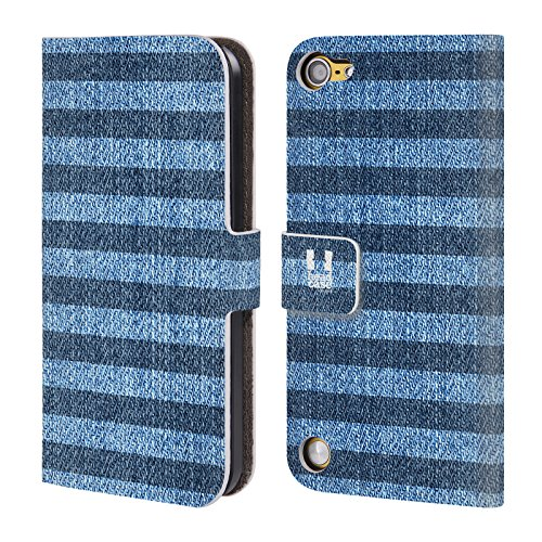 Head Case Designs Strisce Demin Stampato Cover a portafoglio in pelle per iPod Touch 5th Gen / 6th Gen