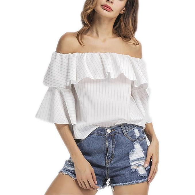 Camisa de Rayas Blancas de la Blusa Moda de Verano Casual de Las Mujeres Top Hombro Elegante Blusa de la Volante de la Manga Flare L: Amazon.es: Ropa y ...
