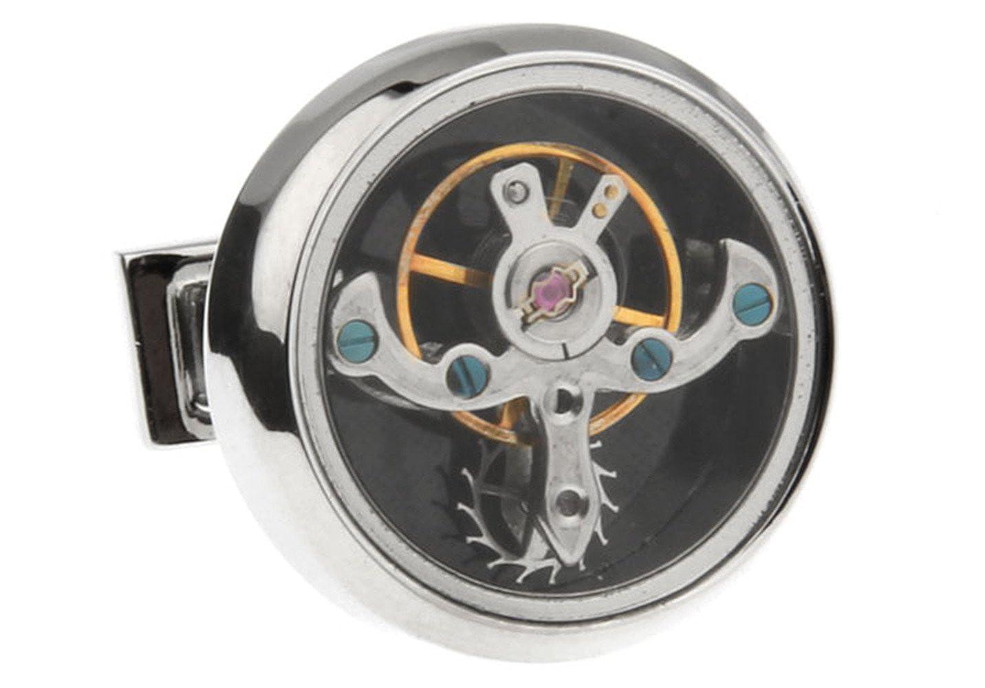 ヴィンテージ スチームパンク 時計 カフスボタン 機械式時計 ムーブメント カフスボタン メンズ 7種類のスタイル ギフトボックス付き トゥールビヨン-5  B01DZL1APY