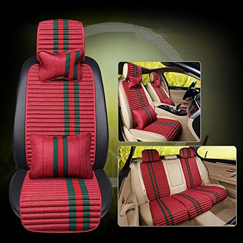 MIAO Car Seat Cushions Cover?Five Seats Cars Universal Four Seasons Comfort Linen Breathable Car Cushion , red: Sports & Outdoors