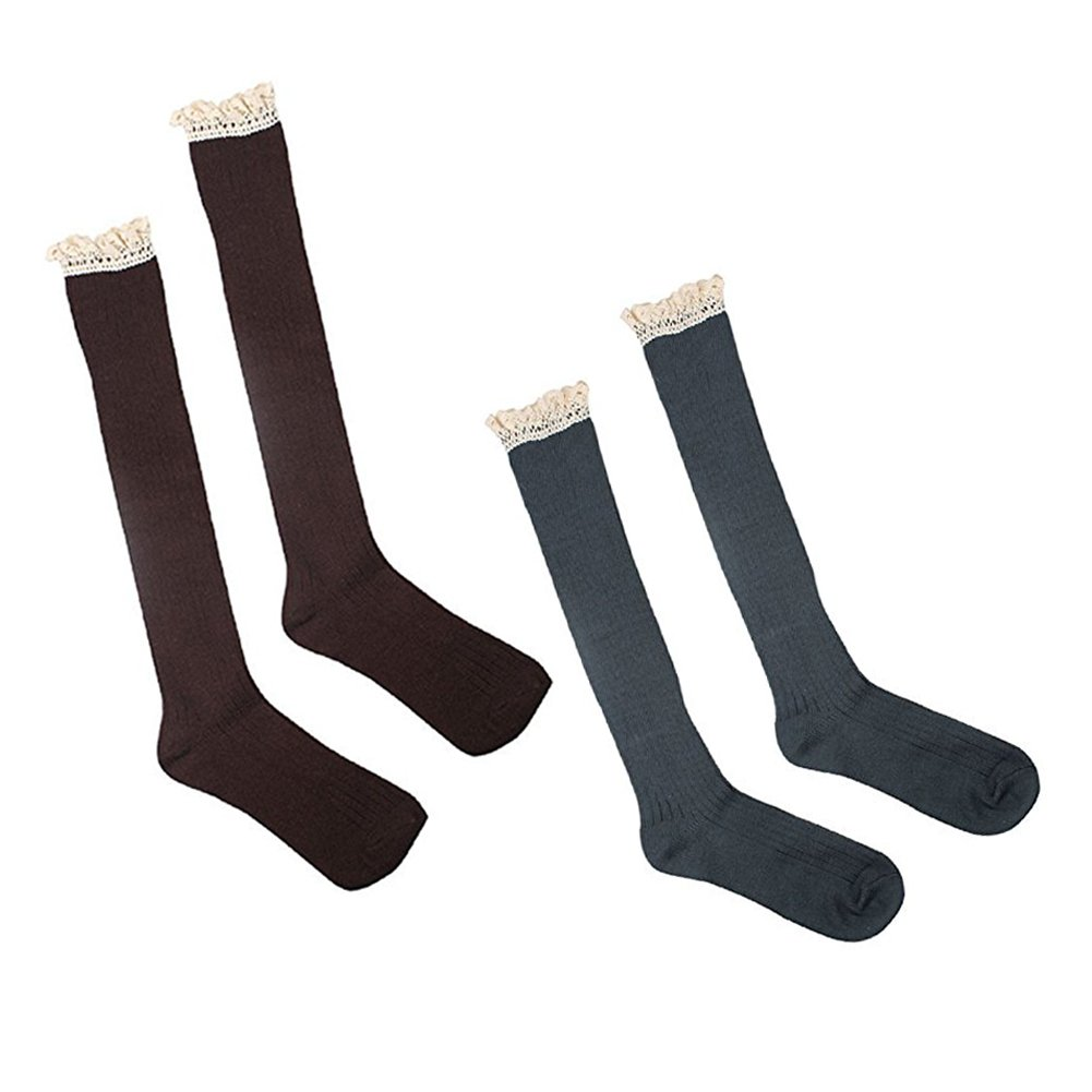 Cinoyoni 5 Pack Women Cotton Crochet Boot Socks with Lace Trim Knit Knee High Stockings
