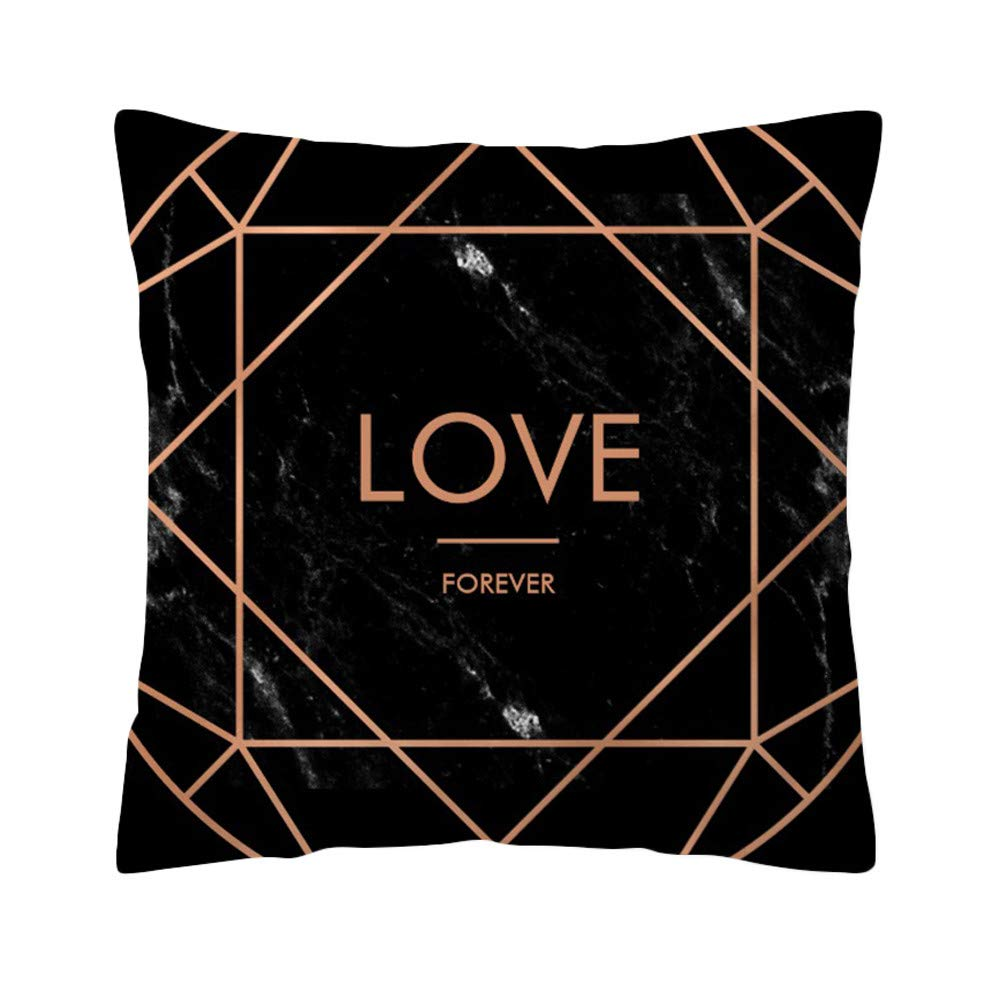 Clearance Sale! Pillow Cases Decoration Rose Black Gold Sofa Car Waist Throw Square Cushion Cover Home by TAGGMY 45cmx45cm