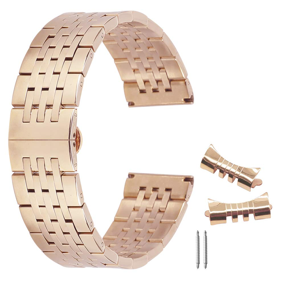 15mm Durable 304 Stainless Steel Wristband Replacement for Traditional Watch Smart Watch Belt Rose Gold by autulet