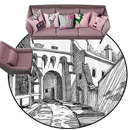 Floor Mats for Living Room Medieval Decor Collection,Medieval Citadel Sketch House of Legendary Vampire Dracula Old Mystical Tales Art Work,Black White Diameter 66